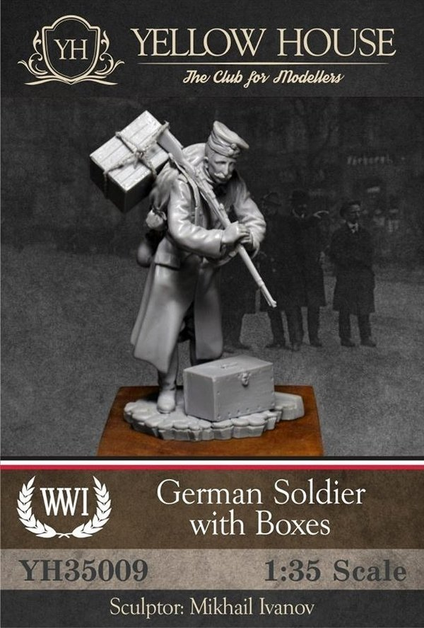 German Soldier with Boxes